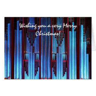 Tarjeta de Navidad azul del órgano de tubos