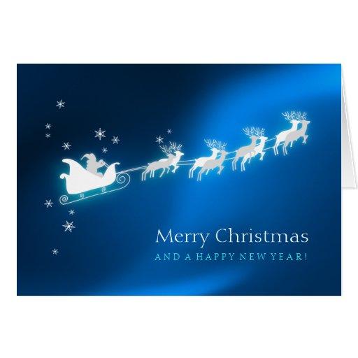 Tarjeta de Navidad azul del trineo de Santa