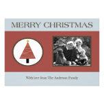 tarjeta de Navidad azul roja de la FOTO del árbol  Invitación