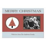 tarjeta de Navidad azul roja de la FOTO del árbol Invitación 12,7 X 17,8 Cm