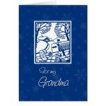 Tarjeta de Navidad azul y blanca de la abuela de l