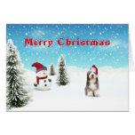 Tarjeta de Navidad barbuda del collie