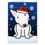 Tarjeta de Navidad blanca de Kawaii bull terrier