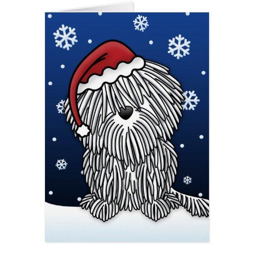 Tarjeta de Navidad blanca de Kawaii Puli