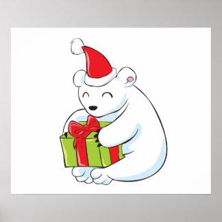 Tarjeta de Navidad blanca del oso polar, cojín de Poster