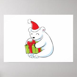 Tarjeta de Navidad blanca del oso polar, cojín de Impresiones