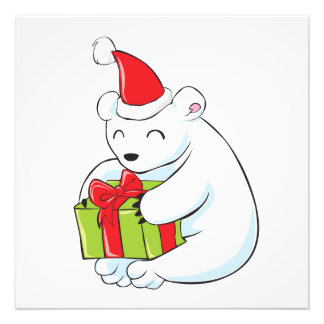 Tarjeta de Navidad blanca del oso polar, cojín de Impresiones Fotograficas