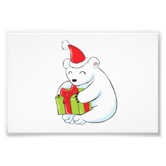 Tarjeta de Navidad blanca del oso polar, cojín de Cojinete