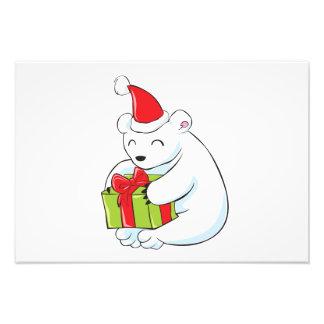 Tarjeta de Navidad blanca del oso polar, cojín de Impresiones Fotográficas