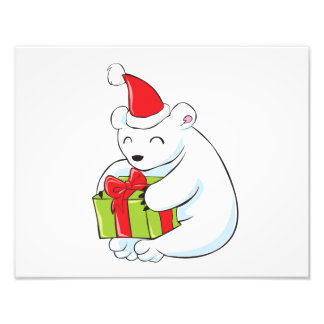 Tarjeta de Navidad blanca del oso polar, cojín de Fotos