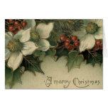Tarjeta de Navidad blanca del Poinsettia de la era