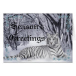 Tarjeta de Navidad blanca del tigre