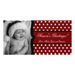 tarjeta de Navidad blanca roja de la FOTO del marc Tarjeta Con Foto Personalizada