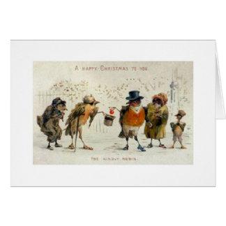 Tarjeta de Navidad bondadosa del petirrojo del vin