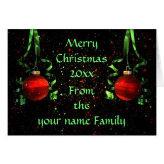 Tarjeta de Navidad brillante de los ornamentos a p