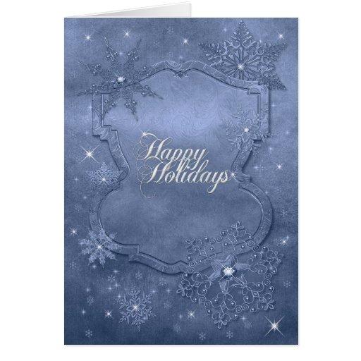 Tarjeta de Navidad brillante del copo de nieve azu