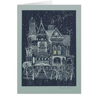 Tarjeta de Navidad caprichosa de la casa del Victo