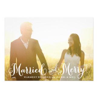 Tarjeta de Navidad casada y feliz del recién casad Invitaciones Personalizada
