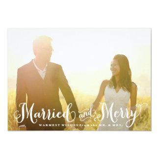 Tarjeta de Navidad casada y feliz del recién Invitaciones Personalizada