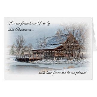 Tarjeta de Navidad casera del planeta - Rancho San