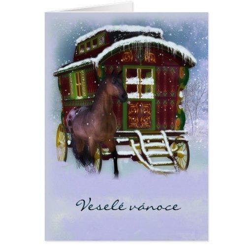 Tarjeta de Navidad checa - caballo y caravana viej