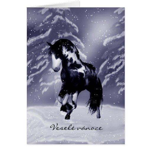 Tarjeta de Navidad checa del caballo - pintura de