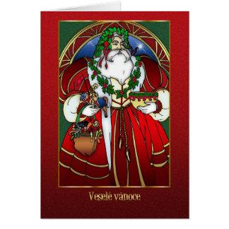 Tarjeta de Navidad checa - Papá Noel - rojo y oro
