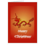 Tarjeta de Navidad china del dragón del rojo y del