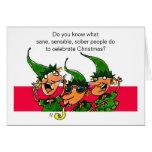 Tarjeta de Navidad chistosa de los duendes