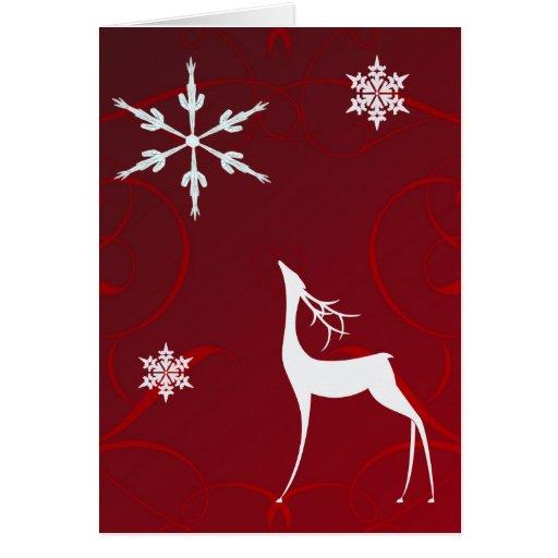 Tarjeta de Navidad--Cintas y reno