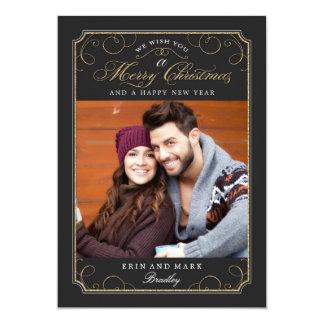 "Tarjeta de Navidad clásica de la voluta/tarjeta de Invitación 5"" X 7"""