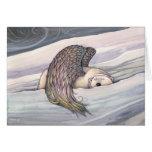 Tarjeta de Navidad coa alas del ángel del oso pola