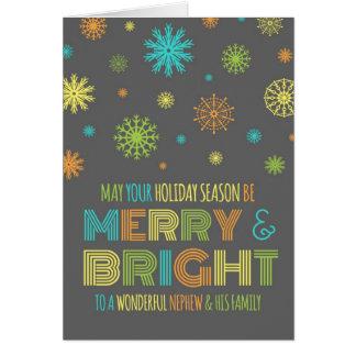 Tarjeta de Navidad colorida del sobrino y de la fa