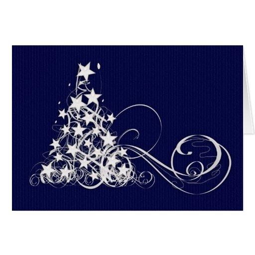 Tarjeta de Navidad con el árbol y las estrellas de