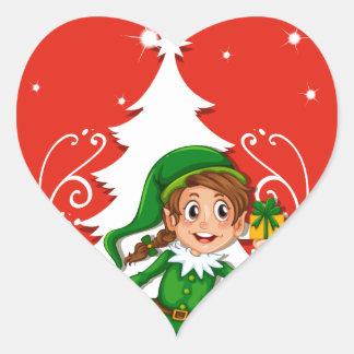 Tarjeta de Navidad con el duende Pegatina En Forma De Corazón