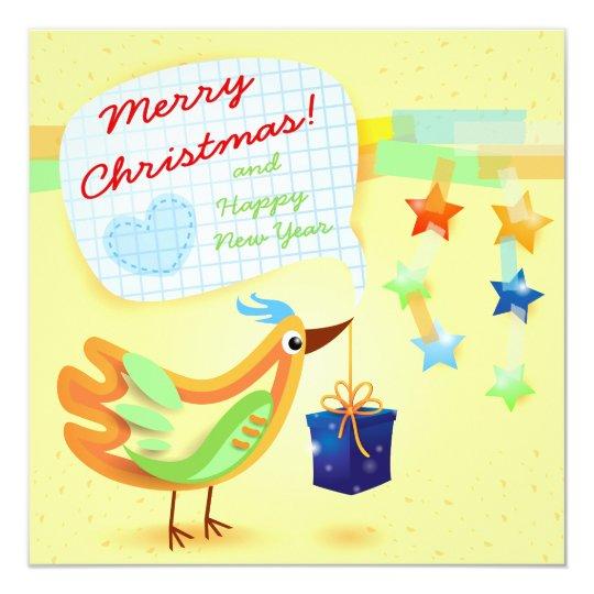 """Tarjeta de Navidad con el pájaro y el regalo Invitación 5.25"""" X 5.25"""""""