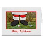 Tarjeta de Navidad con Golfing Santa
