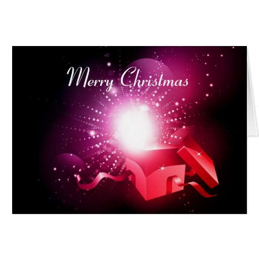 Tarjeta de Navidad con la caja de regalo abierta