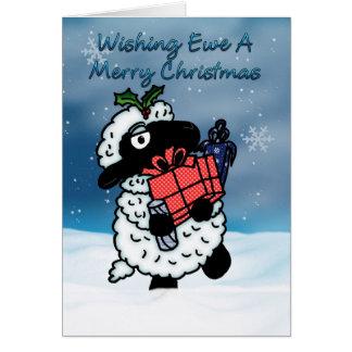 Tarjeta de Navidad con las ovejas - deseando a ove