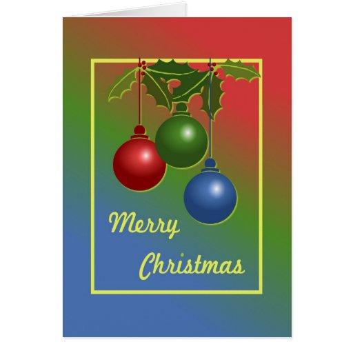 Tarjeta de Navidad con los ornamentos y el acebo
