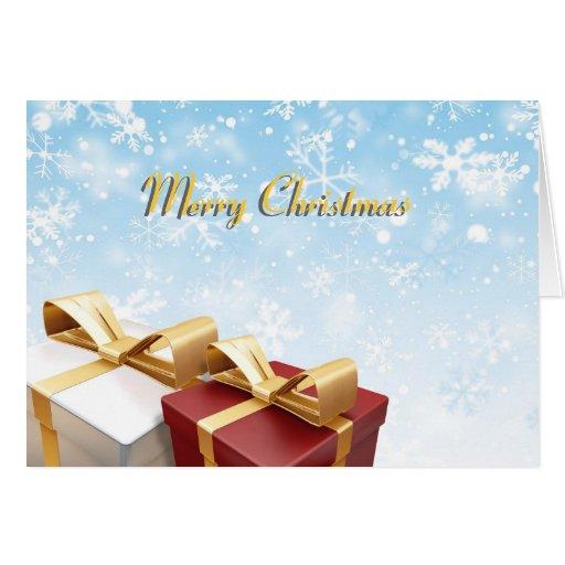 Tarjeta de Navidad con los regalos