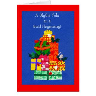 Tarjeta de Navidad con los regalos - saludo