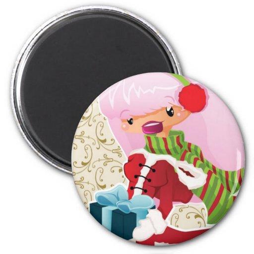 Tarjeta de Navidad con rosado Iman De Frigorífico
