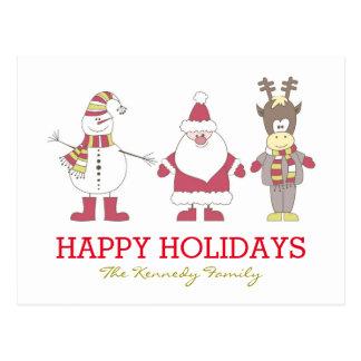Tarjeta de Navidad con Santa, reno, hombre de la Tarjeta Postal