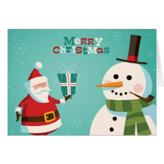 Tarjeta de Navidad con Santa y el muñeco de nieve