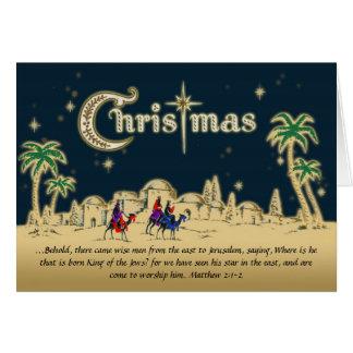 Tarjeta de Navidad cristiana de los viajeros del