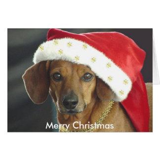 Tarjeta de Navidad - Dachshund de Santa
