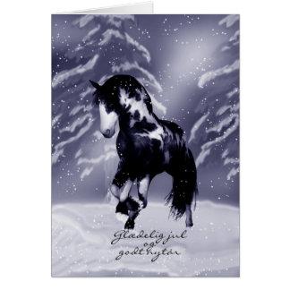 Tarjeta de Navidad danesa del caballo - pintura de