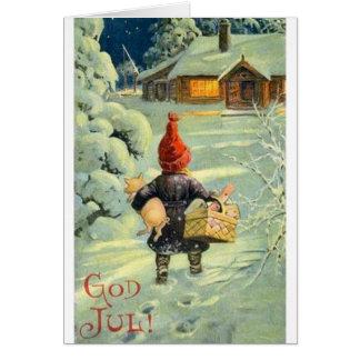 Tarjeta de Navidad danesa/noruega del vintage de