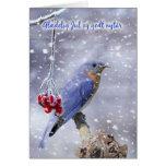 tarjeta de Navidad danesa - pájaro azul con las ba